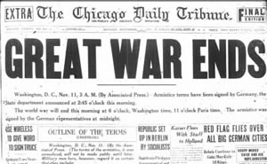 World War I - Chicago Tribune announces the end of the Great War